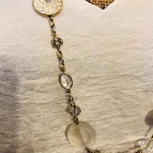 """The Limited Jewelry - 17 1/2"""" Silver/Cream and Clear Stone Necklace"""
